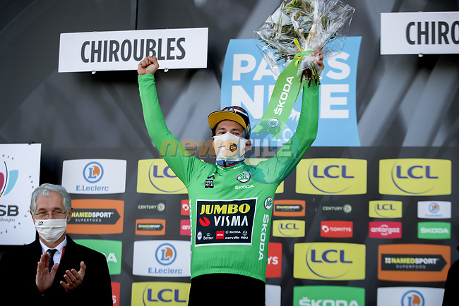 Slovenian Champion Primoz Roglic (SLO) Team Jumbo-Visma wins Stage 4 and also takes over the points Green Jersey of Paris-Nice 2021, running 187.5km from Chalon-sur-Saone to Chiroubles, France. 10th March 2021.<br /> Picture: ASO/Fabien Boukla | Cyclefile<br /> <br /> All photos usage must carry mandatory copyright credit (© Cyclefile | ASO/Fabien Boukla)