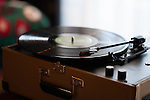 A vinyl album playing on a record player at The Redbury Hotel, an SBE property in Hollywood, Los Angeles, CA