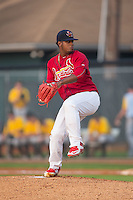 Johnson City Cardinals starting pitcher Juan Bautista (23) in action against the Bristol Pirates at Howard Johnson Field at Cardinal Park on July 6, 2015 in Johnson City, Tennessee.  The Cardinals defeated the Pirates 8-2 in game two of a double-header. (Brian Westerholt/Four Seam Images)