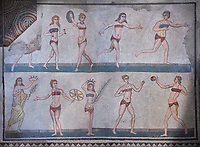 Wide picture of the Roman mosaics of the room of the Ten Bikini Girls depicting Roman women in an athletic competition, room no 30, at the Villa Romana del Casale, first quarter of the 4th century AD. Sicily, Italy. A UNESCO World Heritage Site.