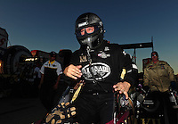 Oct. 30, 2011; Las Vegas, NV, USA: NHRA top fuel dragster driver Del Worsham celebrates after winning the Big O Tires Nationals at The Strip at Las Vegas Motor Speedway. Mandatory Credit: Mark J. Rebilas-