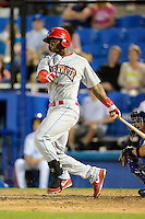 Clearwater Threshers outfielder Kyrell Hudson #13 during a game against the Dunedin Blue Jays at Florida Auto Exchange Stadium on April 4, 2013 in Dunedin, Florida.  Dunedin defeated Clearwater 4-2.  (Mike Janes/Four Seam Images)