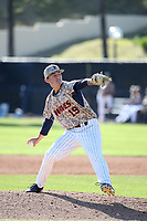 Kiko Garcia (19) of the Pepperdine Waves pitches against the Fresno State Bulldogs at Eddy D. Field Stadium on March 7, 2017 in Los Angeles, California. Pepperdine defeated Fresno State, 8-7. (Larry Goren/Four Seam Images)