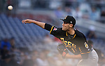 Salt Lake Bees' Kyle McGowin pitches against the Reno Aces at Greater Nevada Field, in Reno, Nev., on Wednesday, Aug. 10, 2016.  <br /> Photo by Cathleen Allison