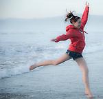 Dancing on the beach, Central Coast, California