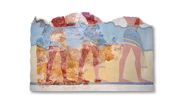 The Minoan 'Procession Fresco', wall art from the South Prpylaeum, Knossos Palace, 1500-1400 BC . Heraklion Archaeological Museum.  White Background. <br /> <br /> This latrge Minoan fresco of many figure in procession would have decorated the corridor between the West Porch and the South Propylaeum of Knossos Palace. Both sides of the corridor were painted with hundreds of male and femal;e figures carrying precious utensils and vessels, probably depicting gift bearers to the ruler of the Palace. The composition is much like those found in the Palaces and tombs of Egypt and the near east at the time. Neopalatial final period.