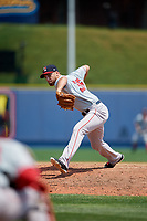 Portland Sea Dogs relief pitcher Trevor Kelley (35) delivers a pitch during the first game of a doubleheader against the Reading Fightin Phils on May 15, 2018 at FirstEnergy Stadium in Reading, Pennsylvania.  Portland defeated Reading 8-4.  (Mike Janes/Four Seam Images)
