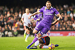 Karim Benzema (l) of Real Madrid fights for the ball with Eliaquim Hans Mangala of Valencia CF during their La Liga match between Valencia CF and Real Madrid at the Estadio de Mestalla on 22 February 2017 in Valencia, Spain. Photo by Maria Jose Segovia Carmona / Power Sport Images