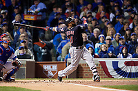 Cleveland Indians Carlos Santana (41) bats in the second inning during Game 5 of the Major League Baseball World Series against the Chicago Cubs on October 30, 2016 at Wrigley Field in Chicago, Illinois.  (Mike Janes/Four Seam Images)