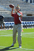 South Bend, IN - OCTOBER 4:  Offensive assistant Mike Sanford of the Stanford Cardinal during Stanford's 28-21 loss against the Notre Dame Fighting Irish on October 4, 2008 at Notre Dame Stadium in South Bend, Indiana.
