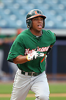 """Miami Hurricanes Zeke DeVoss #7 during a game vs. the University of South Florida Bulls in the """"Florida Four"""" at George M. Steinbrenner Field in Tampa, Florida;  March 1, 2011.  USF defeated Miami 4-2.  Photo By Mike Janes/Four Seam Images"""