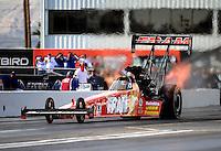 Feb. 19, 2010; Chandler, AZ, USA; NHRA top fuel dragster driver Cory McClenathan during qualifying for the Arizona Nationals at Firebird International Raceway. Mandatory Credit: Mark J. Rebilas-