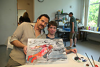 Thorsten Kaye - All My Children paints with grant as he donates his time at the 12th Annual SoapFest - Painting Party to benefit Marco Island YMCA, theatre program & Art League of Marco Island on May 15, 2010 on Marco Island, FLA. (Photo by Sue Coflin/Max Photos)