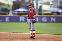 NJIT Highlanders first baseman Michael Anastasia (9) on defense against the High Point Panthers at Williard Stadium on February 18, 2017 in High Point, North Carolina. The Panthers defeated the Highlanders 11-0 in game one of a double-header. (Brian Westerholt/Four Seam Images)