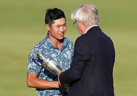 18th July 2021; Royal St Georges Golf Club, Sandwich, Kent, England; The Open Championship Golf, Day Four; Collin Morikawa (USA) is presented with the Claret Jug trophy