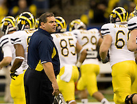 Michigan Head Coach Brady Hoke is pictured during Sugar Bowl game against Virginia Tech at Mercedes-Benz SuperDome in New Orleans, Louisiana on January 3rd, 2012.  Michigan defeated Virginia Tech, 23-20 in first overtime.
