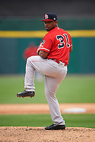 Louisville Bats relief pitcher Dayan Diaz (31) delivers a pitch during a game against the Buffalo Bisons on June 23, 2016 at Coca-Cola Field in Buffalo, New York.  Buffalo defeated Louisville 9-6.  (Mike Janes/Four Seam Images)