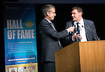 St Johnstone Hall of Fame Dinner, Perth Concert Hall...05.10.13<br /> St Johnstone Manager Tommy Wright tlaks with MC Gordon Bannerman during the awards ceremony<br /> Picture by Graeme Hart.<br /> Copyright Perthshire Picture Agency<br /> Tel: 01738 623350  Mobile: 07990 594431