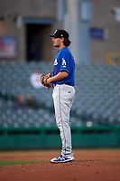 Rancho Cucamonga Quakes starting pitcher Dean Kremer (17) prepares to deliver a pitch during a California League game against the Stockton Ports at Banner Island Ballpark on May 16, 2018 in Stockton, California. Rancho Cucamonga defeated Stockton 6-3. (Zachary Lucy/Four Seam Images)