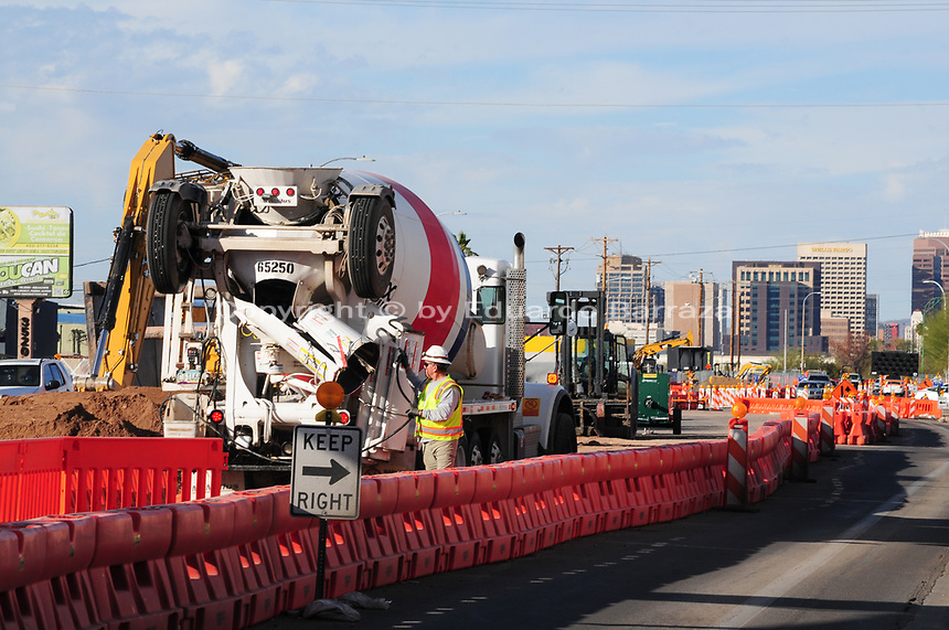 Construction of South-Central Light Rail Extension/Downtown Hub in Phoenix, Arizona