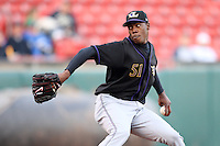 May 3, 2010:  Starting pitcher Aroldis Chapman (51) of the Louisville Bats delivers a pitch in the first inning during a game vs. the Buffalo Bisons at Coca-Cola Field in Buffalo, NY.   Louisville defeated Buffalo by the score of 20-7, Chapman got the win on the mound.  Photo By Mike Janes/Four Seam Images