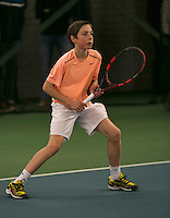 Rotterdam, The Netherlands, 15.03.2014. NOJK 14 and 18 years ,National Indoor Juniors Championships of 2014, Sander Jong (NED)<br /> Photo:Tennisimages/Henk Koster