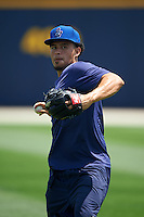 Pensacola Blue Wahoos pitcher Carlos Gonzalez (20) throws in the outfield before a double header against the Biloxi Shuckers on April 26, 2015 at Pensacola Bayfront Stadium in Pensacola, Florida.  (Mike Janes/Four Seam Images)