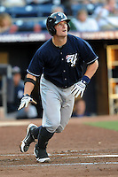 Empire State first baseman Russell Branyan #15 swings at a pitch during a game against the Durham Bulls  at Durham Bulls Athletic Park on June 8, 2012 in Durham, North Carolina . The Yankees defeated the Bulls 3-1. (Tony Farlow/Four Seam Images).