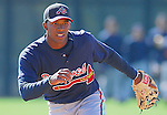 17 March 2007: Infielder Elvis Andrus of the Atlanta Braves takes infield practice prior to a game at the Braves' Spring Training camp at Lake Buena Vista, Fla. Photo by Tom Priddy.