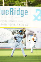 Pulaski Yankees left fielder Jordan Scott (66) settles under a fly ball during the game against the Greeneville Reds at Calfee Park on June 23, 2018 in Pulaski, Virginia. The Reds defeated the Yankees 6-5.  (Brian Westerholt/Four Seam Images)
