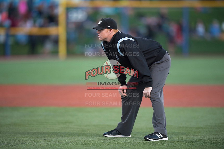 Field umpire Ray Patchen during a Northwest League game between Hillsboro Hops and the Salem-Keizer Volcanoes at Ron Tonkin Field on September 1, 2018 in Hillsboro, Oregon. The Salem-Keizer Volcanoes defeated the Hillsboro Hops by a score of 3-1. (Zachary Lucy/Four Seam Images)