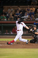 Scottsdale Scorpions catcher Mark Kolozsvary (98), of the Cincinnati Reds organization, follows through on his swing in front of Daulton Varsho (8) during an Arizona Fall League game against the Salt River Rafters at Scottsdale Stadium on October 12, 2018 in Scottsdale, Arizona. Scottsdale defeated Salt River 6-2. (Zachary Lucy/Four Seam Images)