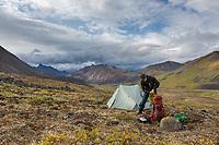 Tent camp in Angiaak Pass, Gates of the Arctic National Park, Alaska