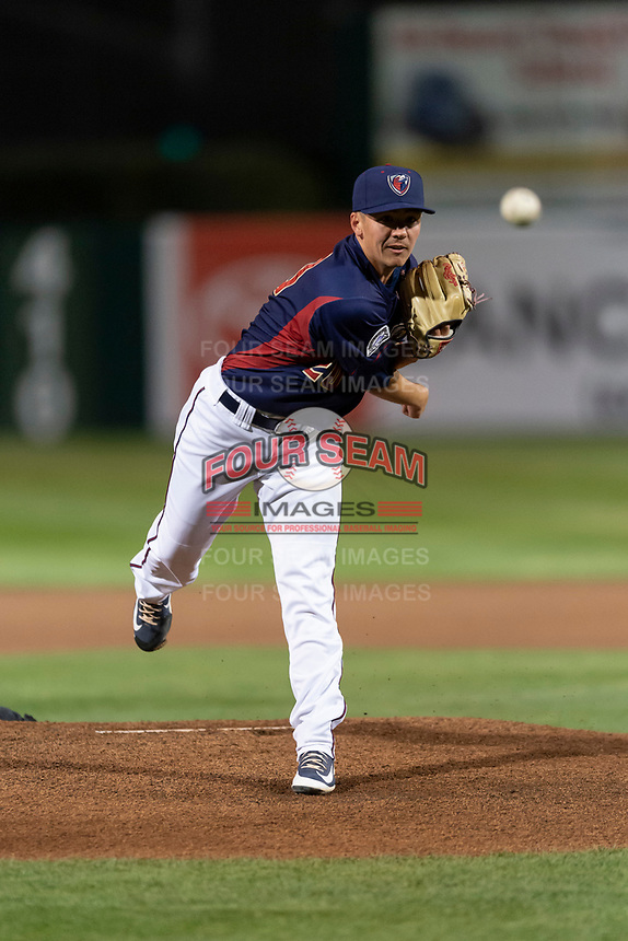 Lake Elsinore starting pitcher Nate Harris (20) during a California League game against the Lake Elsinore Storm on April 10, 2019 at The Hanger in Lancaster, California. Lancaster defeated Lake Elsinore 8-5 in the second game of a doubleheader. (Zachary Lucy/Four Seam Images)