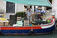 Mercato galleggiante a Rio San Barnaba, Venezia.<br /> Floating vegetable market at Rio San Barnaba, in Venice.<br /> UPDATE IMAGES PRESS/Riccardo De Luca