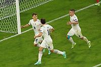Torjubel Nicolo Barella (Italien, Italy, Italia) beim 1:0<br /> - Muenchen 02.07.2021: Italien vs. Belgien, Viertelfinale, Allianz Arena Muenchen, Euro2020, emonline, emspor, Playoffs, Quarterfinals<br /> <br /> Foto: Marc Schueler/Sportpics.de<br /> Nur für journalistische Zwecke. Only for editorial use. (DFL/DFB REGULATIONS PROHIBIT ANY USE OF PHOTOGRAPHS as IMAGE SEQUENCES and/or QUASI-VIDEO)