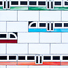 """Subway!, a waterjet jewel glass mosaic, shown in Absolute White, Obsidian,Garnet, Verdite, Sardonyx, and Chrysocolla, is part of Cean Irminger's second KIDDO Collection, """"KIDDO: Wunderkammer® Edition"""" for New Ravenna."""
