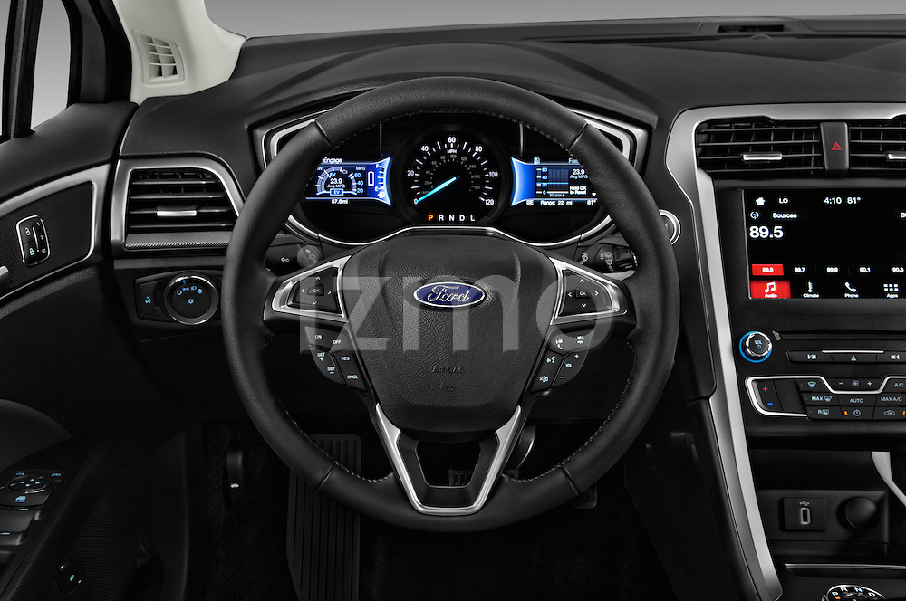 Car pictures of steering wheel view of a 2017 Ford Fusion-Hybrid Hybrid-SE 4 Door Sedan Steering Wheel