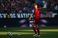 Carson, CA - Thursday August 03, 2017: Samantha Mewis prior to a 2017 Tournament of Nations match between the women's national teams of the United States (USA) and Japan (JPN) at the StubHub Center.