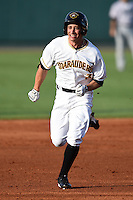 Bradenton Marauders shortstop Max Moroff (31) running the bases during a game against the Jupiter Hammerheads on June 25, 2014 at McKechnie Field in Bradenton, Florida.  Bradenton defeated Jupiter 11-0.  (Mike Janes/Four Seam Images)