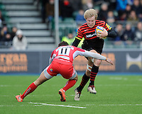 20130303 Copyright onEdition 2013©.Free for editorial use image, please credit: onEdition..Jackson Wray of Saracens is tackled by Seb Stegmann of London Welsh during the Premiership Rugby match between Saracens and London Welsh at Allianz Park on Sunday 3rd March 2013 (Photo by Rob Munro)..For press contacts contact: Sam Feasey at brandRapport on M: +44 (0)7717 757114 E: SFeasey@brand-rapport.com..If you require a higher resolution image or you have any other onEdition photographic enquiries, please contact onEdition on 0845 900 2 900 or email info@onEdition.com.This image is copyright onEdition 2013©..This image has been supplied by onEdition and must be credited onEdition. The author is asserting his full Moral rights in relation to the publication of this image. Rights for onward transmission of any image or file is not granted or implied. Changing or deleting Copyright information is illegal as specified in the Copyright, Design and Patents Act 1988. If you are in any way unsure of your right to publish this image please contact onEdition on 0845 900 2 900 or email info@onEdition.com