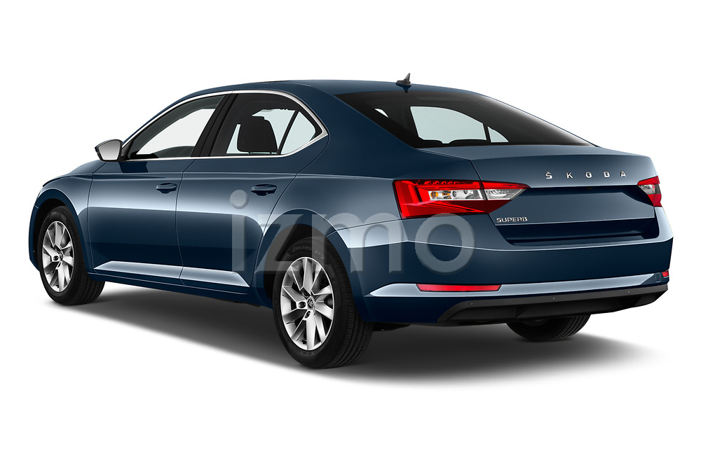 Car pictures of rear three quarter view of a 2020 Skoda Superb Ambition 5 Door Hatchback angular rear