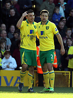 Pictured: Robert Snodgrass (L) of Norwich celebrating his equaliser against Swansea with team mate Russell Martin (R).  Saturday 06 April 2013<br /> Re: Barclay's Premier League, Norwich City FC v Swansea City FC at the Carrow Road Stadium, Norwich, England.