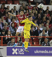 Fleetwood Town's Ashley Hunter  battles with Nottingham Forest's Yuri Ribeiro <br /> <br /> Photographer Mick Walker/CameraSport<br /> <br /> The Carabao Cup First Round - Nottingham Forest v Fleetwood Town - Tuesday 13th August 2019 - The City Ground - Nottingham<br />  <br /> World Copyright © 2019 CameraSport. All rights reserved. 43 Linden Ave. Countesthorpe. Leicester. England. LE8 5PG - Tel: +44 (0) 116 277 4147 - admin@camerasport.com - www.camerasport.com