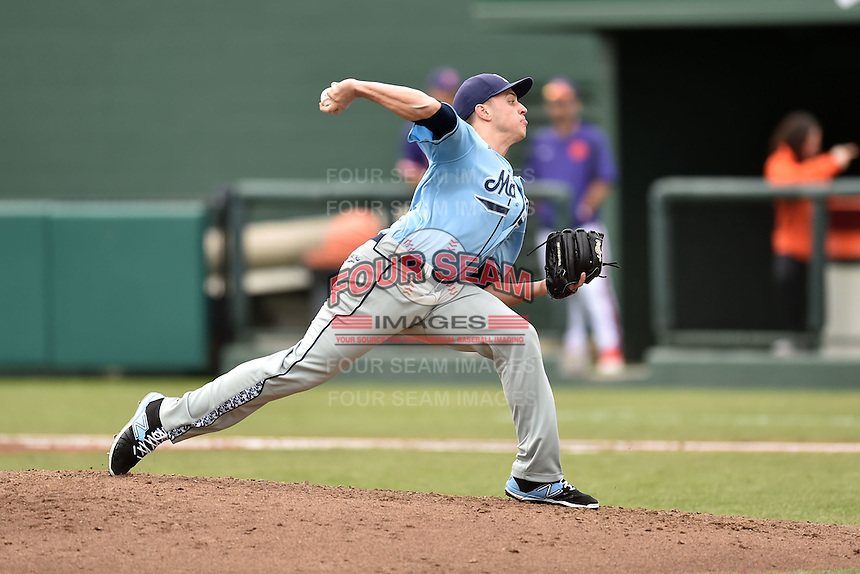 Main Black Bears pitcher Nick Silva (16) delivers a pitch during a game against the Clemson Tigers at Doug Kingsmore Stadium on February 20, 2016 in Clemson, South Carolina. The Tigers defeated the Black Bears 9-4. (Tony Farlow/Four Seam Images)