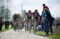 Bert de Backer (BEL/Team Giant-Alpecin) leading a group of chasers in sector 8: Pont-Thibaut to Ennevelin (1.4km)<br /> <br /> 114th Paris-Roubaix 2016