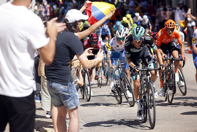 Felix Grossschartner (AUT) Bora-Hansgrohe attacks on the final climb of Stage 1 of the Vuelta a Burgos 2020, 42nd Edition, running 157km from the Catedral de Burgos to Mirador del Castillo Burgos, Spain. 28th July 2020. <br /> Picture: Bora-Hansgrohe/Luis Angel Gomez/BettiniPhoto   Cyclefile<br /> <br /> All photos usage must carry mandatory copyright credit (© Cyclefile   Bora-Hansgrohe/Luis Angel Gomez/BettiniPhoto)