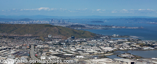 aerial photograph South San Francisco, Oyster Point, Sierra Point to San Francisco, California