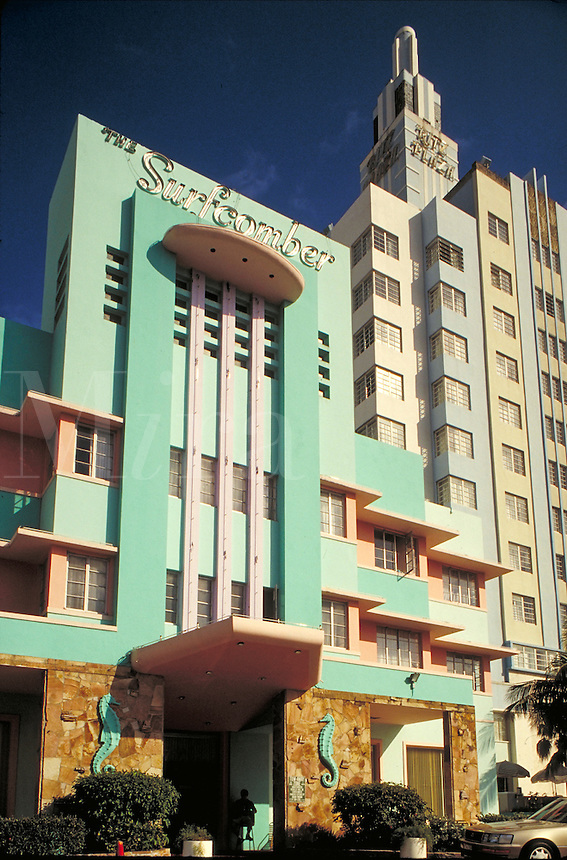The Surfcomber and Ritz Plaza hotels, two art deco buildings in the restored art deco district in Miami Beach, Florida.  architecture. Miami Beach Florida.