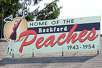 Ticket booth at Beyer Stadium, the home of the All-American Girls Professional Baseball League's Rockford Peaches from 1943-1954, on June 30, 2012 in Rockford, Illinois.  The ticket booth is all that remains as the stadium was torn down in the early 1990's.  (Mike Janes/Four Seam Images)
